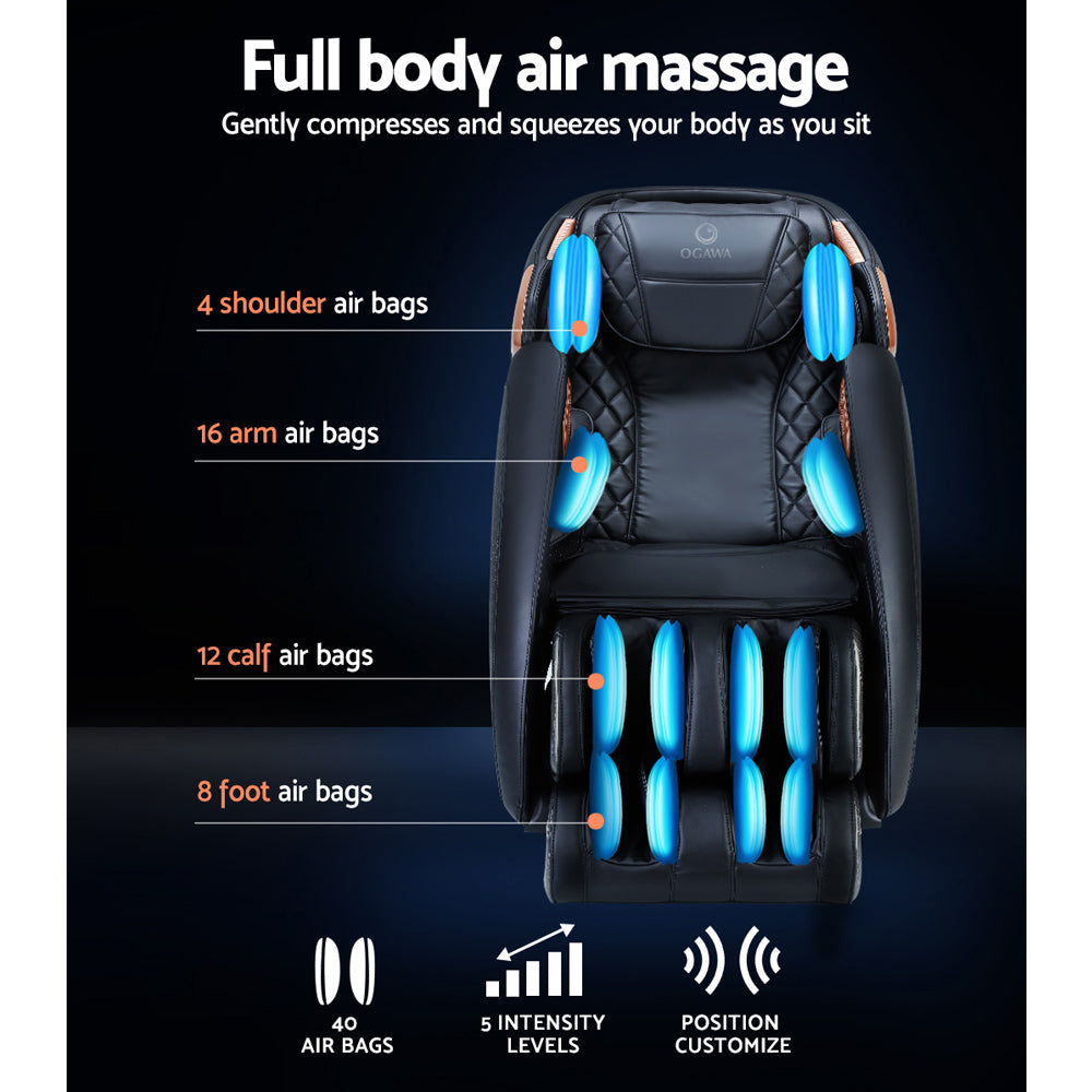 Ogawa Electric Massage Chair Recliner L-Track Shiatsu Roller Full Body Air Bags
