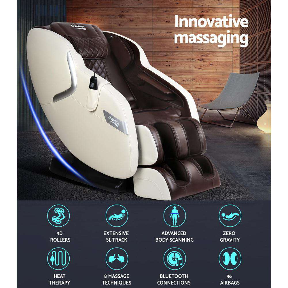 Livemor 3D Electric Massage Chair SL Track Full Body Air Bags Shiatsu Massaging Cream Brown