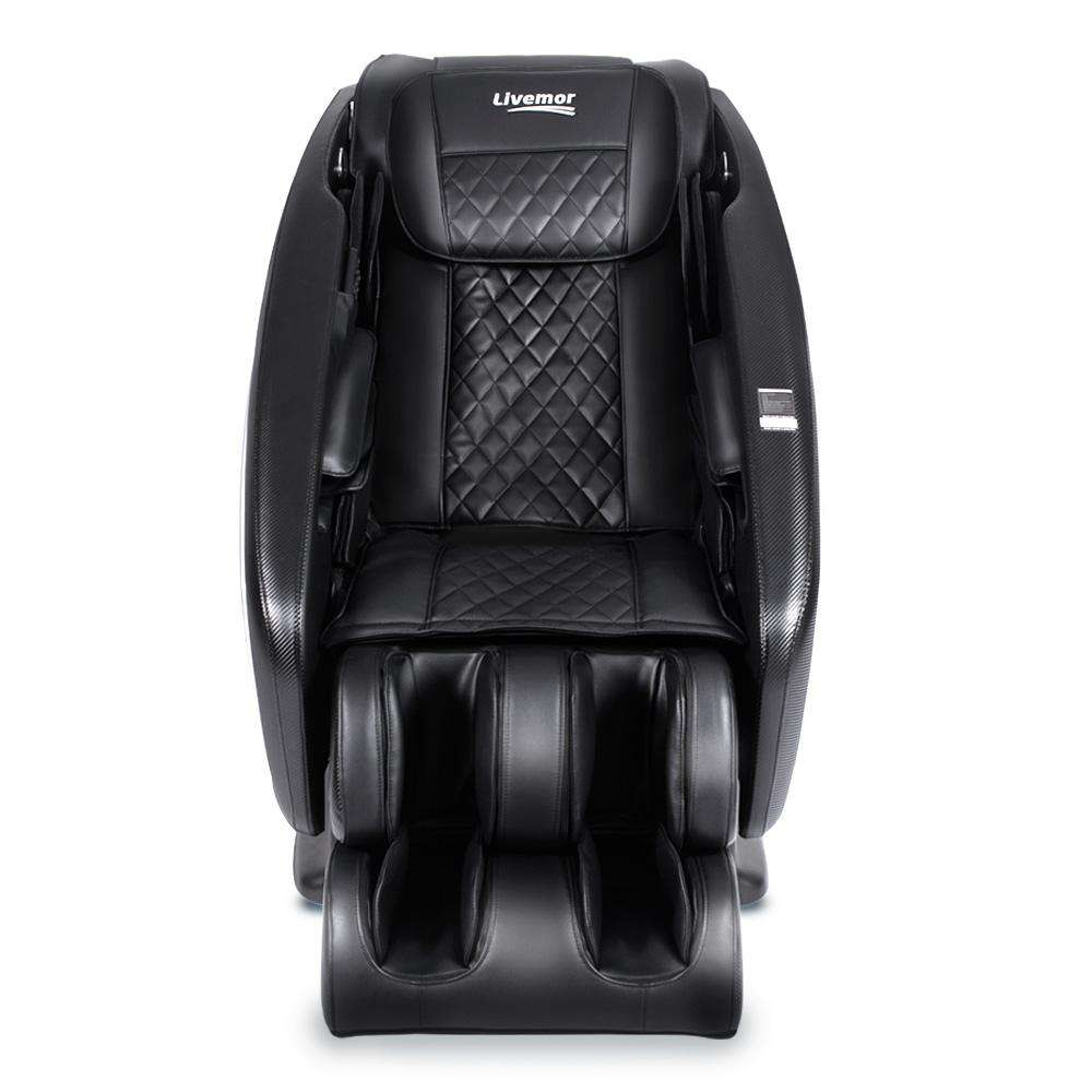 Livemor 4D Electric Massage Chair Shiatsu SL Track Full Body 52 Air Bags Black