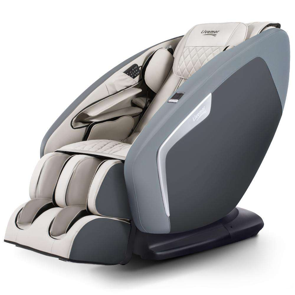 Livemor 4D Electric Massage Chair Shiatsu SL Track Full Body 52 Air Bags Navy Grey
