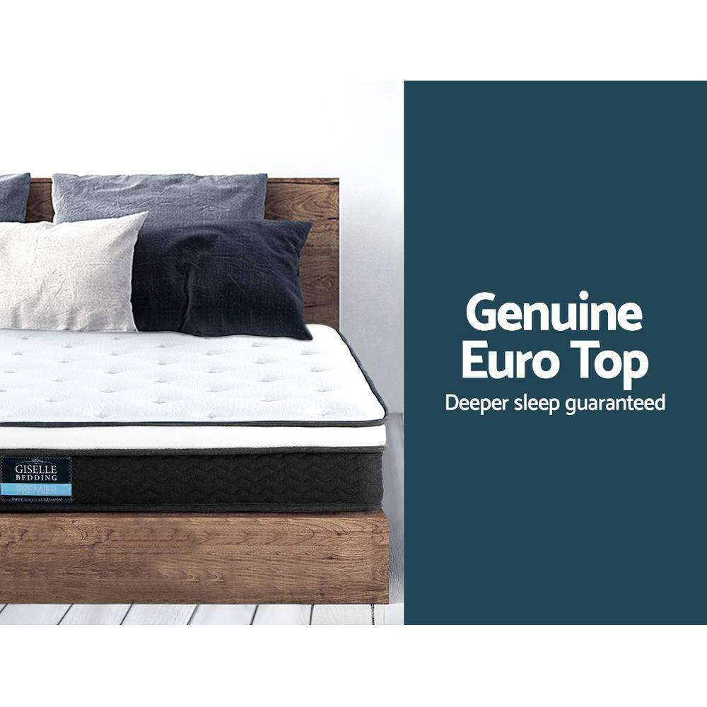 Giselle Bedding King Single Size Mattress Euro Top Bed Bonnell Spring Foam 21cm