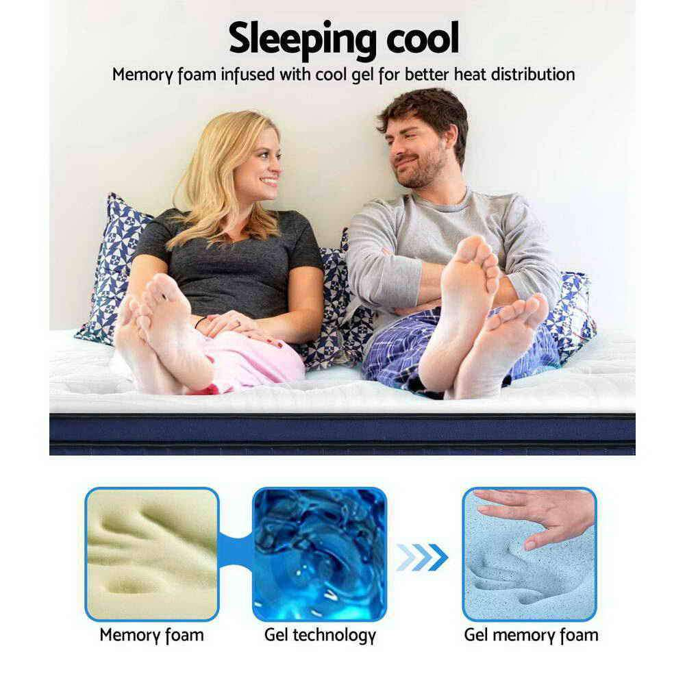 Giselle Bedding King Size Mattress Euro Top Pocket Spring Cool Gel Memory Foam 34cm