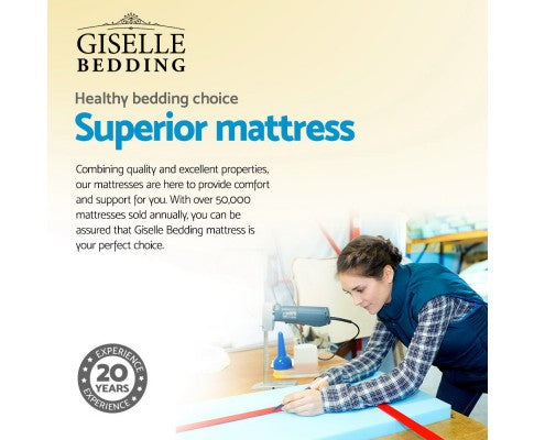 Giselle Bedding SINGLE Size Mattress Bed Pocket Spring Foam Bamboo 34CM