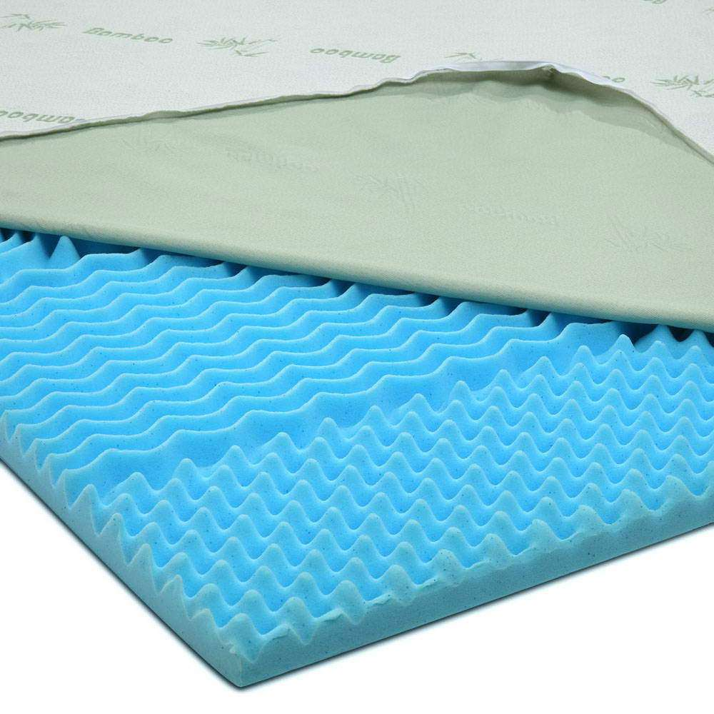 Giselle Bedding King Size 8cm Thick Bamboo Mattress Topper - Blue