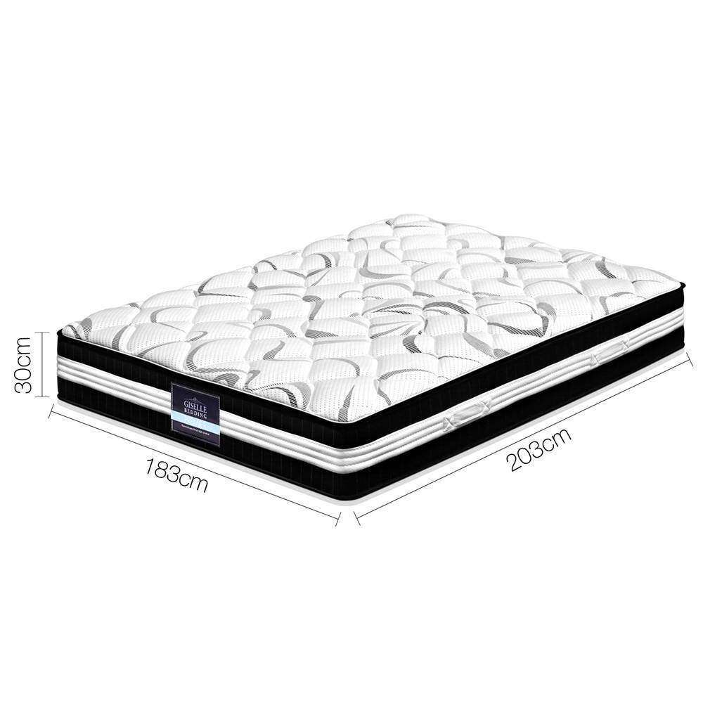 30CM Medium Firm Pocket Spring Mattress - King - Desirable Home Living
