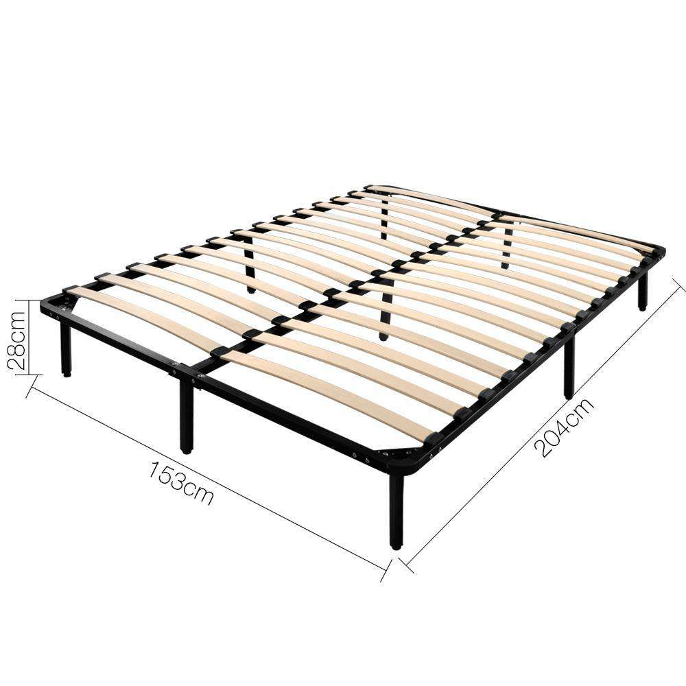 Queen Metal Bed Base Frame Black - Desirable Home Living