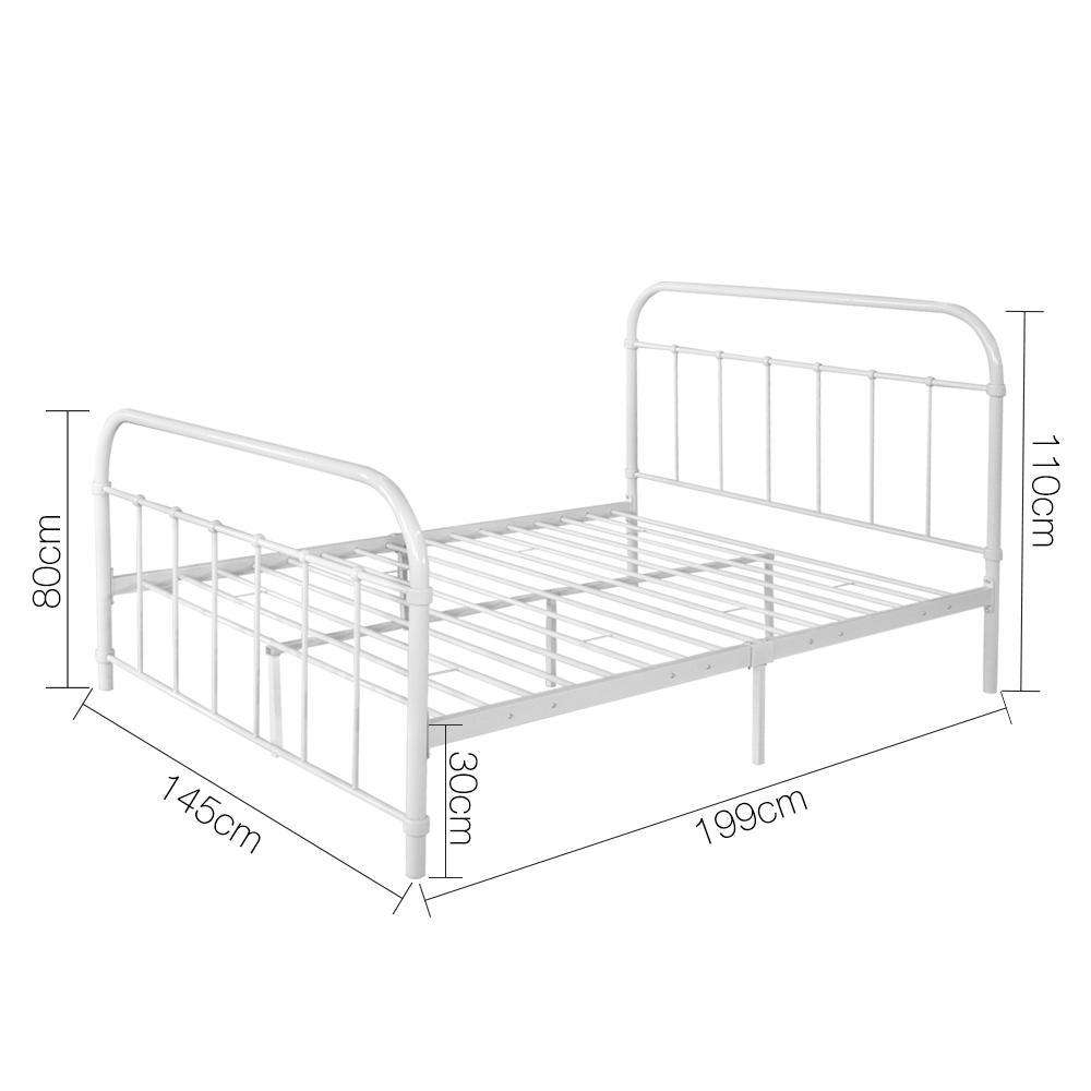 Double Metal Bed Frame White - Desirable Home Living