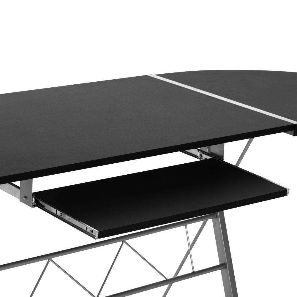 Three-piece Computer Desk Black - Desirable Home Living