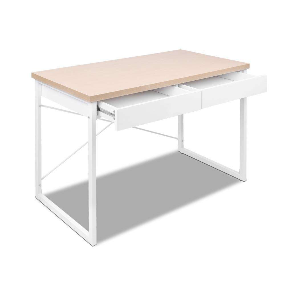 Artiss Metal Desk with Drawer - White with Wooden Top