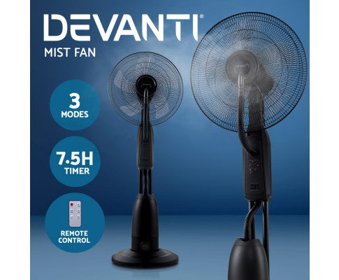 Devanti Mist Fan 5 Blades Black