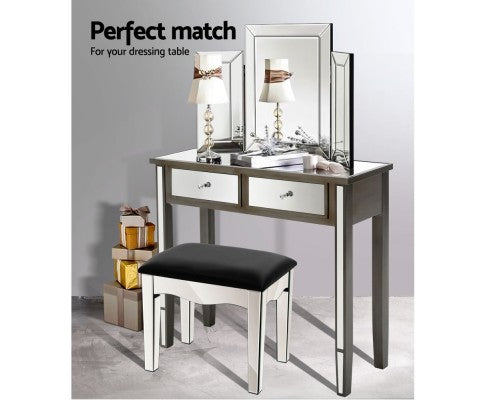 Artiss Mirrored Dressing Table Stool