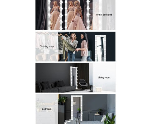 Embellir Full Length Mirror Floor Standing Makeup Wall 1.6M Light Bulbs Mirror