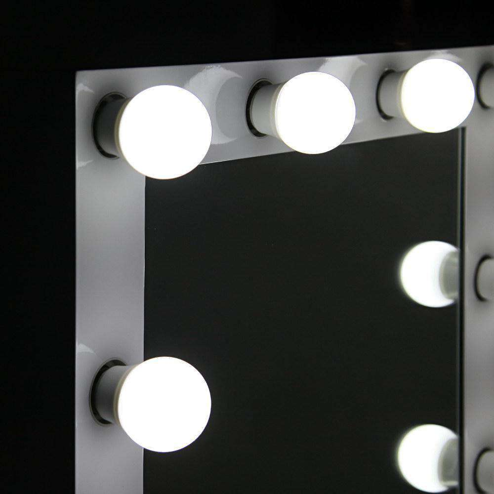 Make Up Mirror Frame with LED Lights 65x50cm White - Desirable Home Living