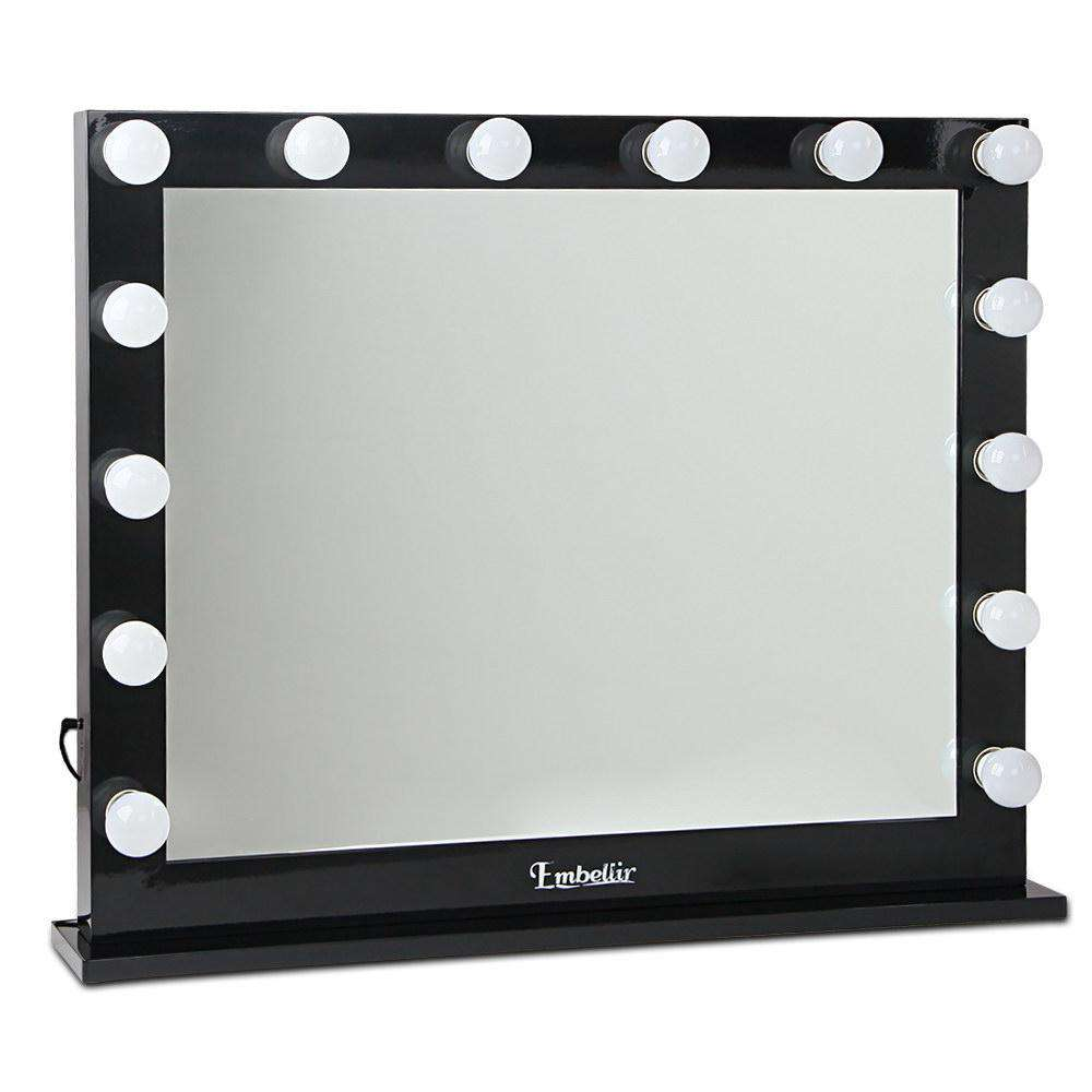 Make Up Mirror Frame with LED Lights 65x80cm Black