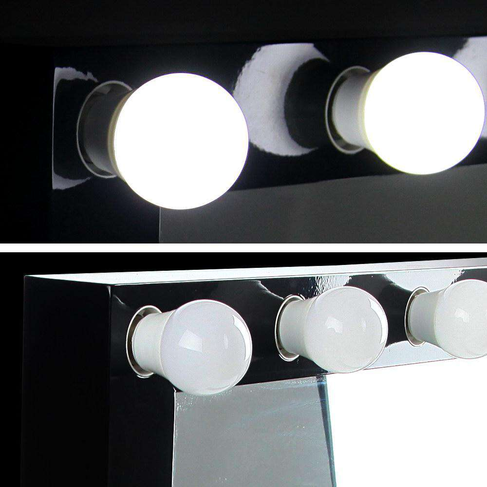 Make Up Mirror Frame with LED Lights 65x80cm Black - Desirable Home Living