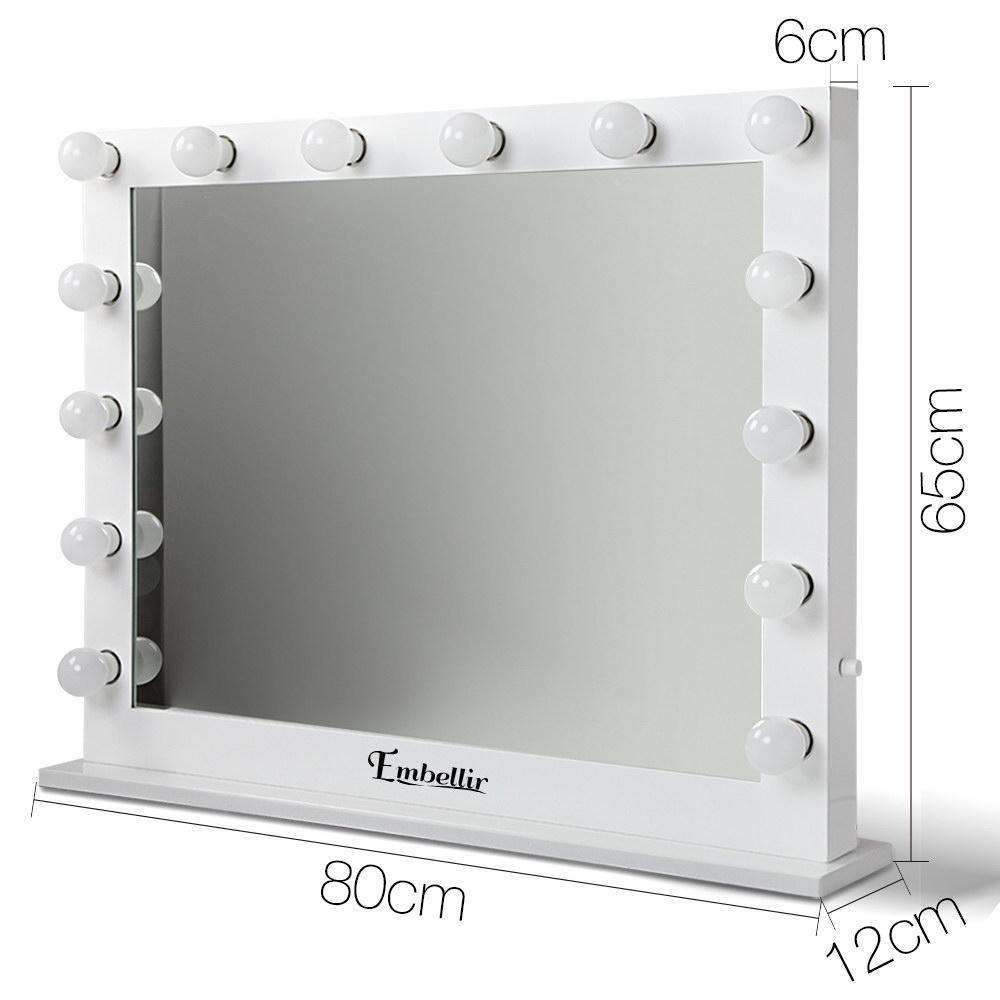Make Up Mirror Frame with LED Lights 65x80cm White - Desirable Home Living