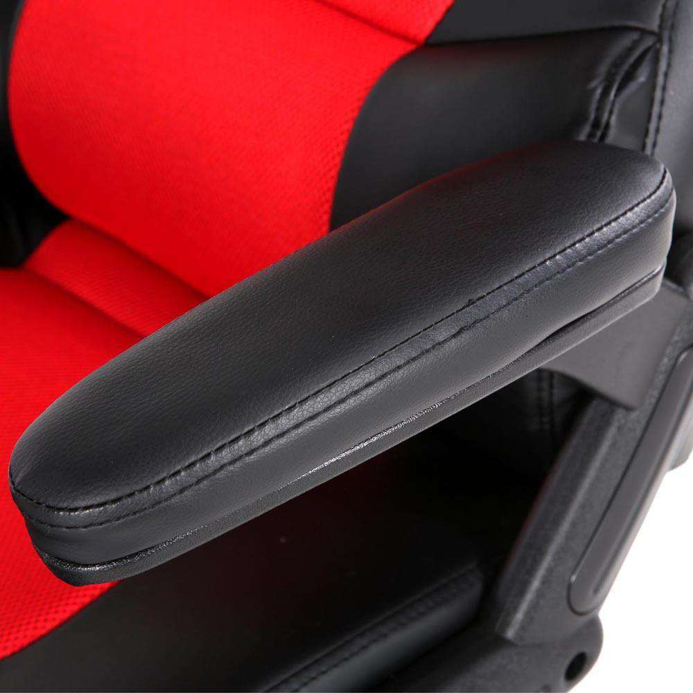 8 Point PU Leather Reclining Heated Massage Chair - Red