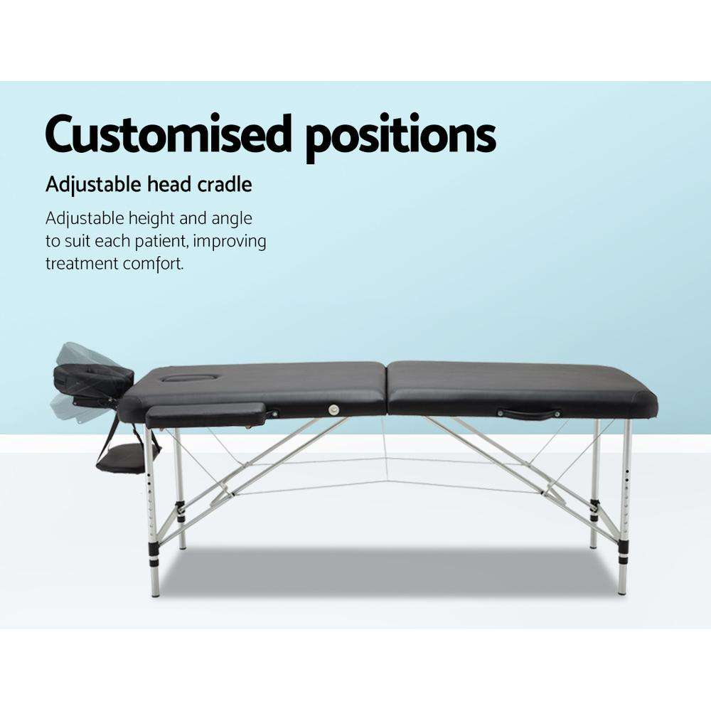 Zenses 70cm Wide Portable Aluminium Massage Table Two Fold Treatment Beauty Therapy Black