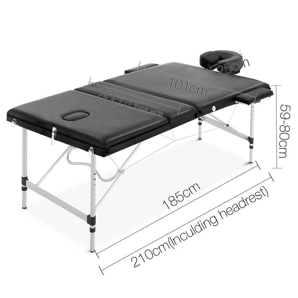 Portable Aluminium 3 Fold Massage Table Chair Bed Black 80cm - Desirable Home Living