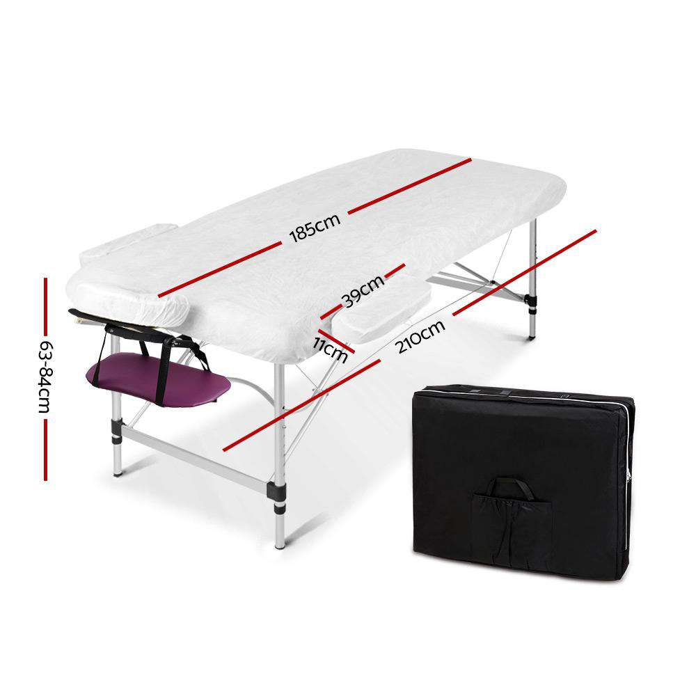 Zenses 3 Fold Portable Aluminium Massage Table Massage Bed Beauty Therapy Purple 75cm