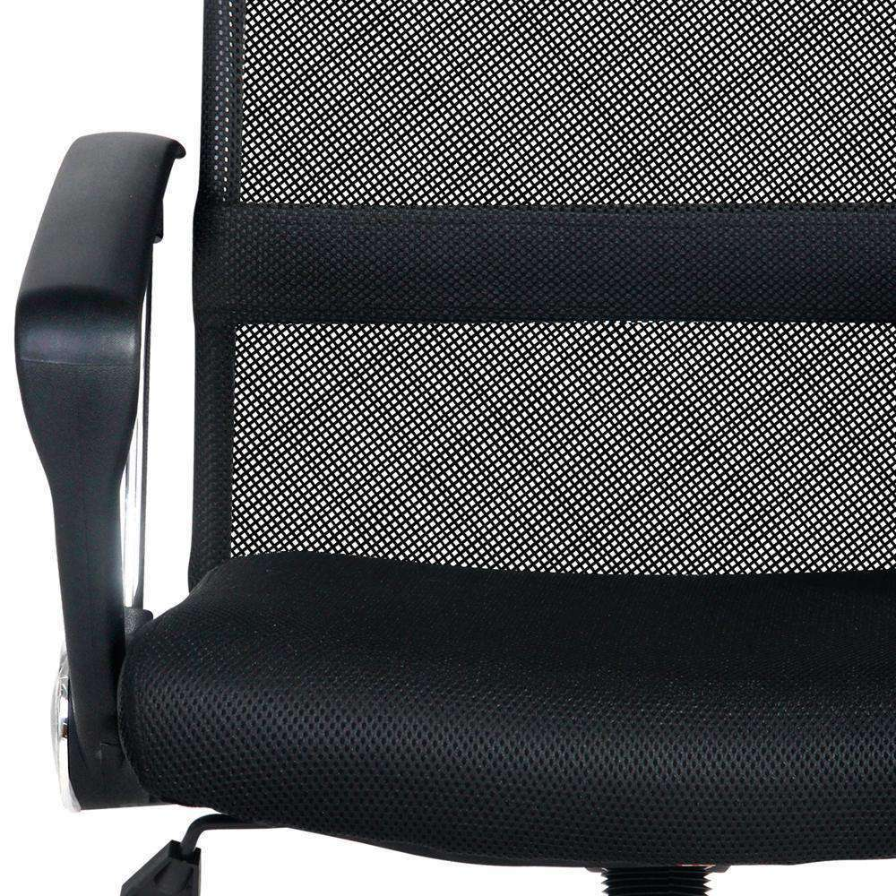 PU Leather Mesh High Back Office Chair Black - Desirable Home Living