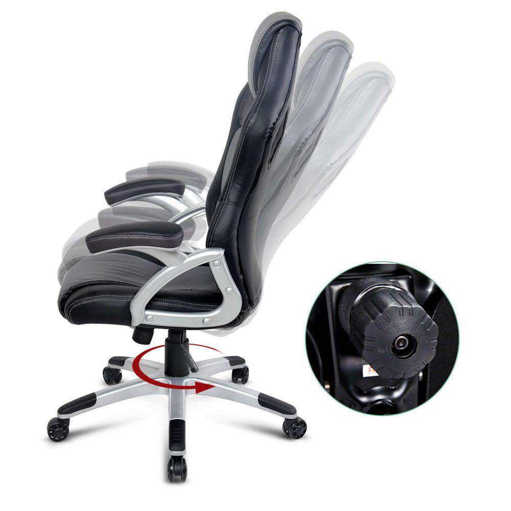 PU Leather Racing Style Office Chair Black and Grey - Desirable Home Living