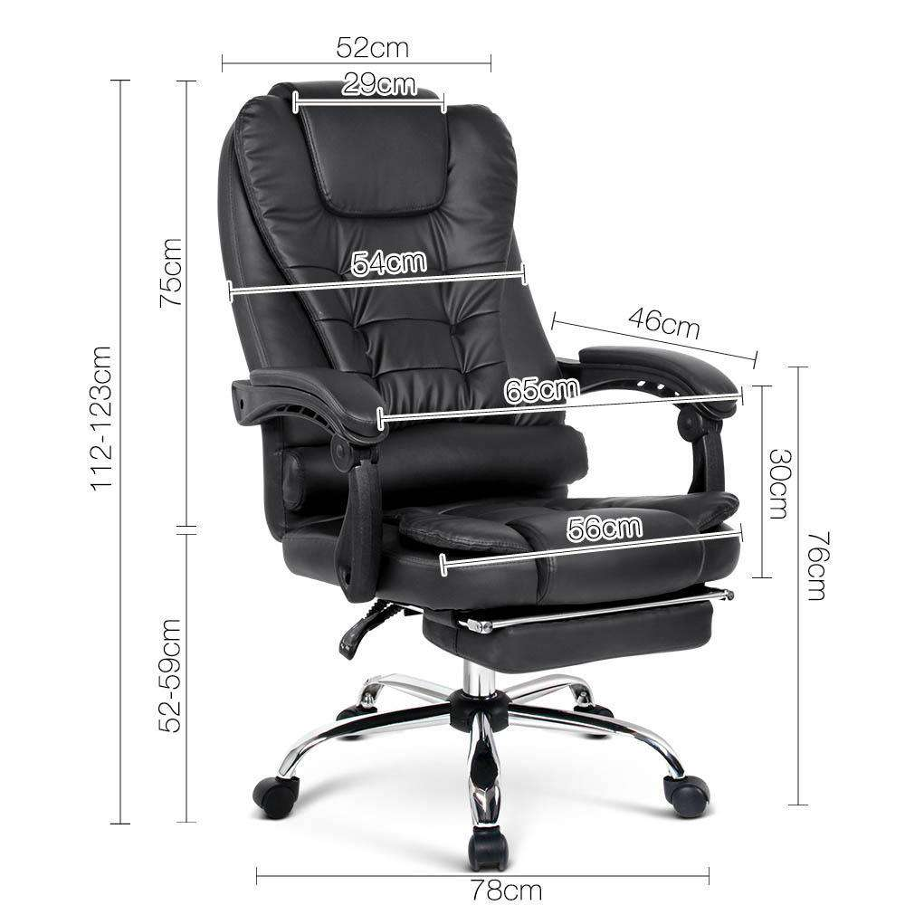 PU Leather Office Chair with Foot Rest Black - Desirable Home Living