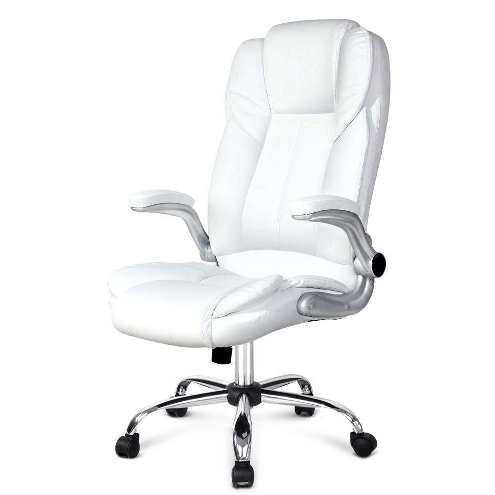 PU Leather Racing Style Office Chair White - Desirable Home Living