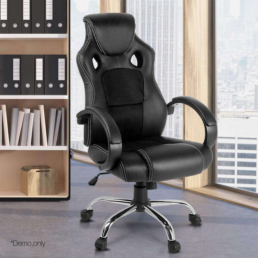 Racing Style PU Leather Office Chair Black - Desirable Home Living