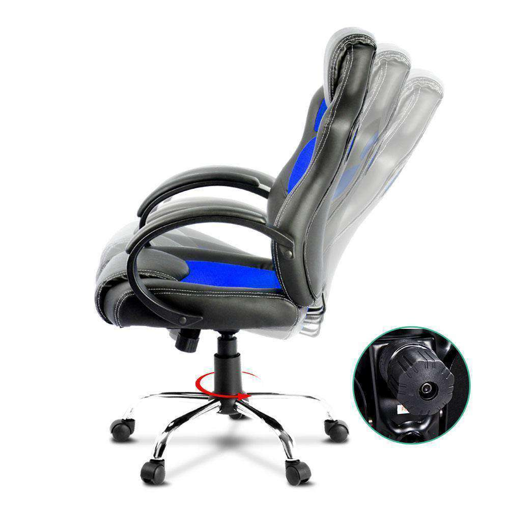 Racing Style PU Leather Office Chair Blue - Desirable Home Living