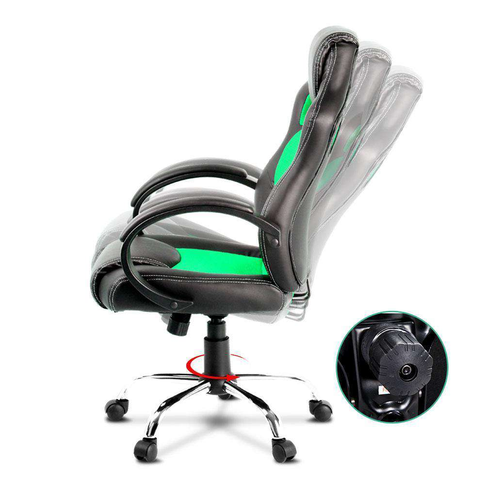 Racing Style PU Leather Office Chair Green - Desirable Home Living