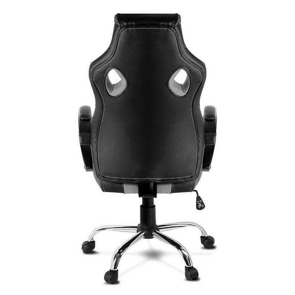 Racing Style PU Leather Office Chair Grey - Desirable Home Living