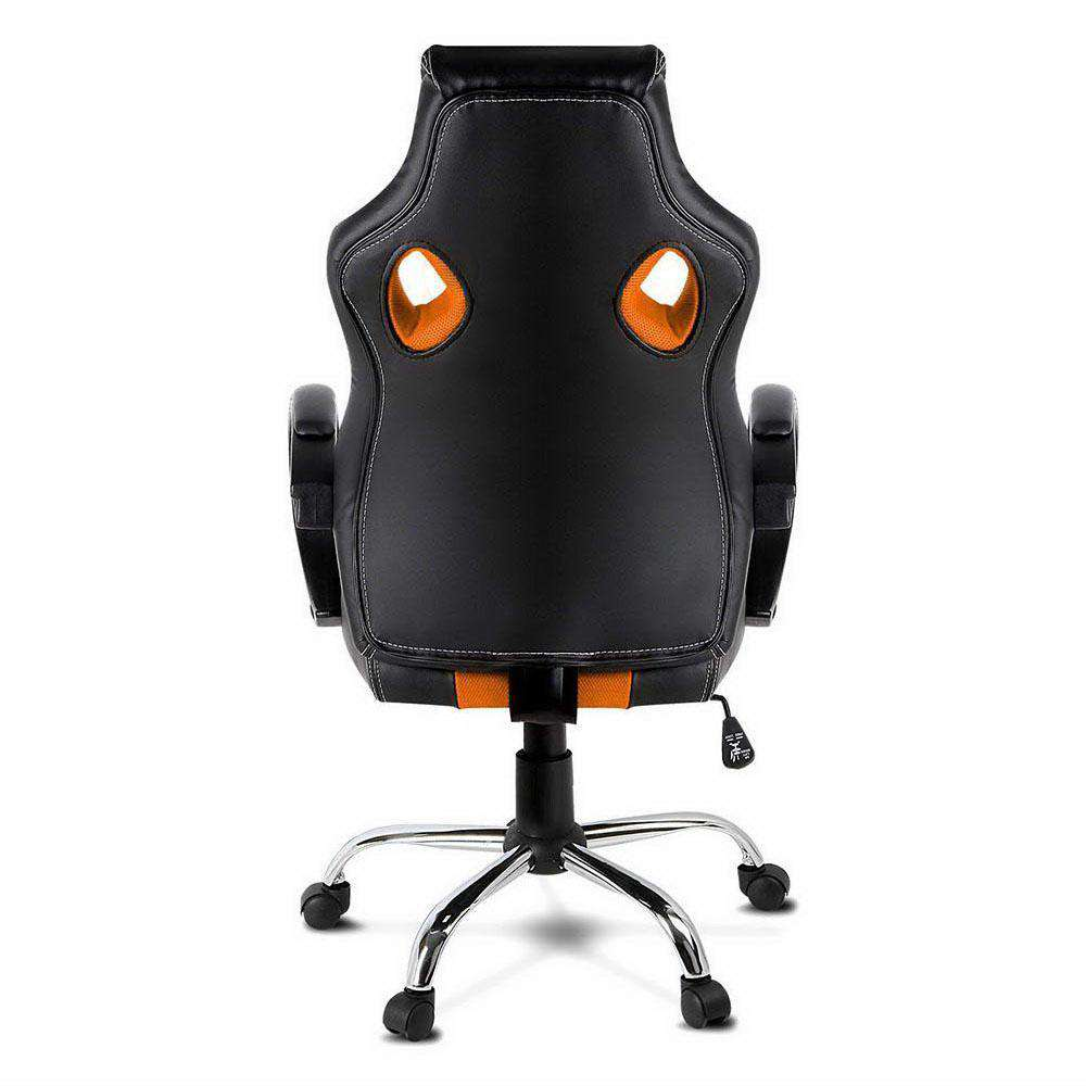 Racing Style PU Leather Office Chair Orange - Desirable Home Living