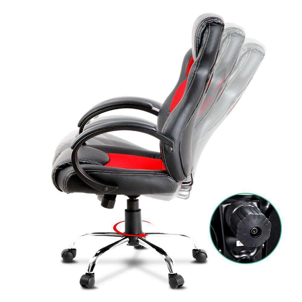 Racing Style PU Leather Office Chair Red - Desirable Home Living