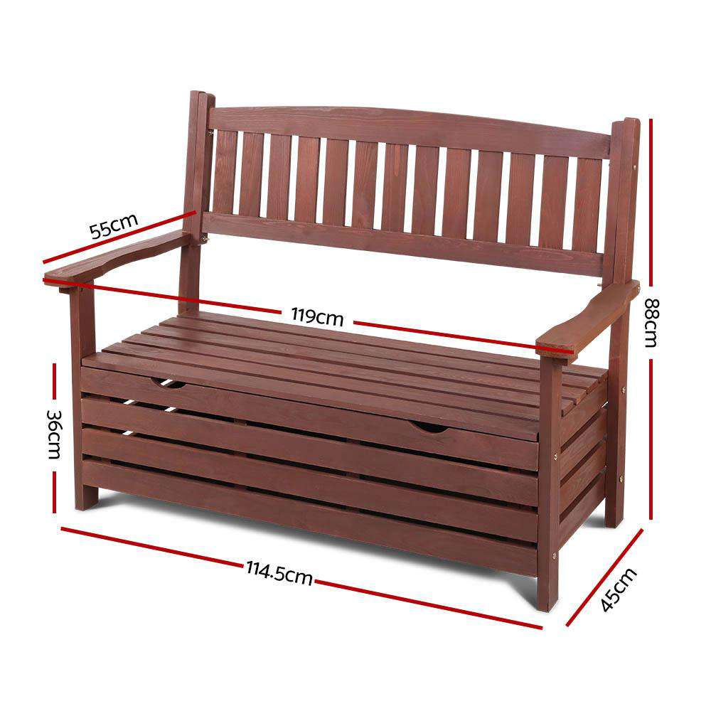 Gardeon Outdoor Storage Bench Box Wooden Garden Chair 2 Seat Timber Furniture Brown