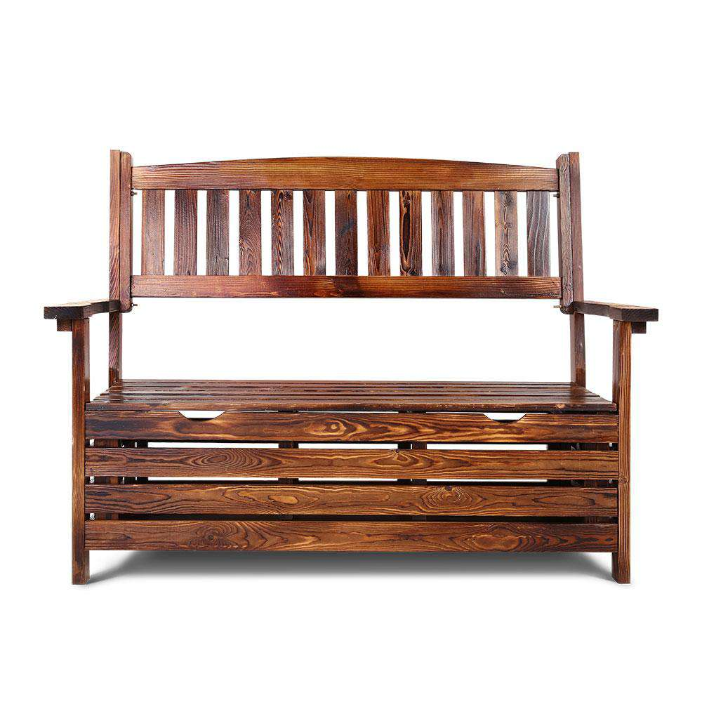 Gardeon Outdoor Storage Bench Box Wooden Garden Chair 2 Seat Timber Furniture Charcoal