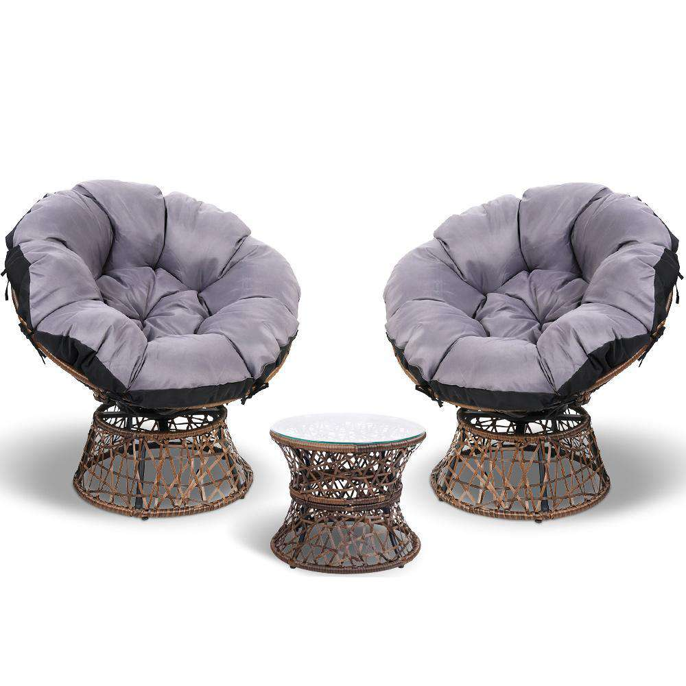 Garden Papasan Chair and Side Table Set- Black