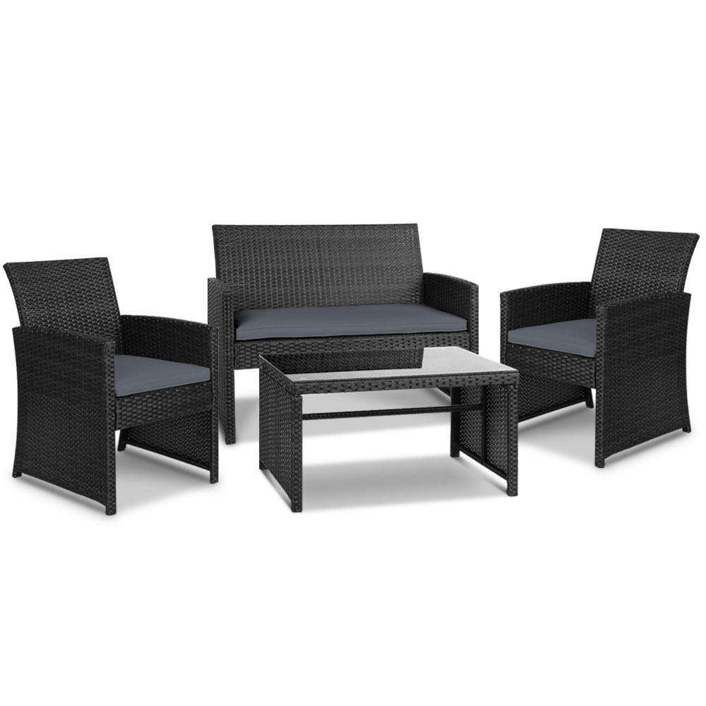 Gardeon Set of 4 Outdoot Rattan Chairs & Table - Black