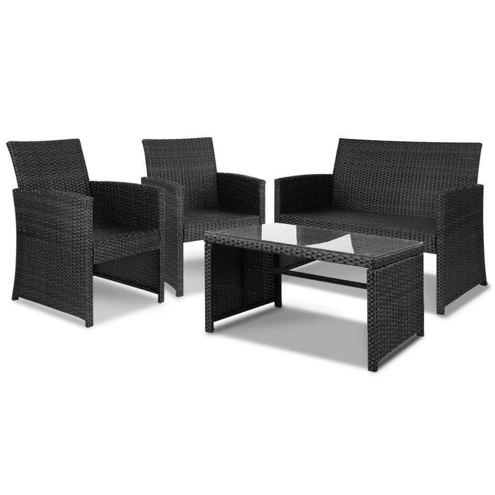 Gardeon Set of 4 Outdoor Rattan Chairs & Table - Black