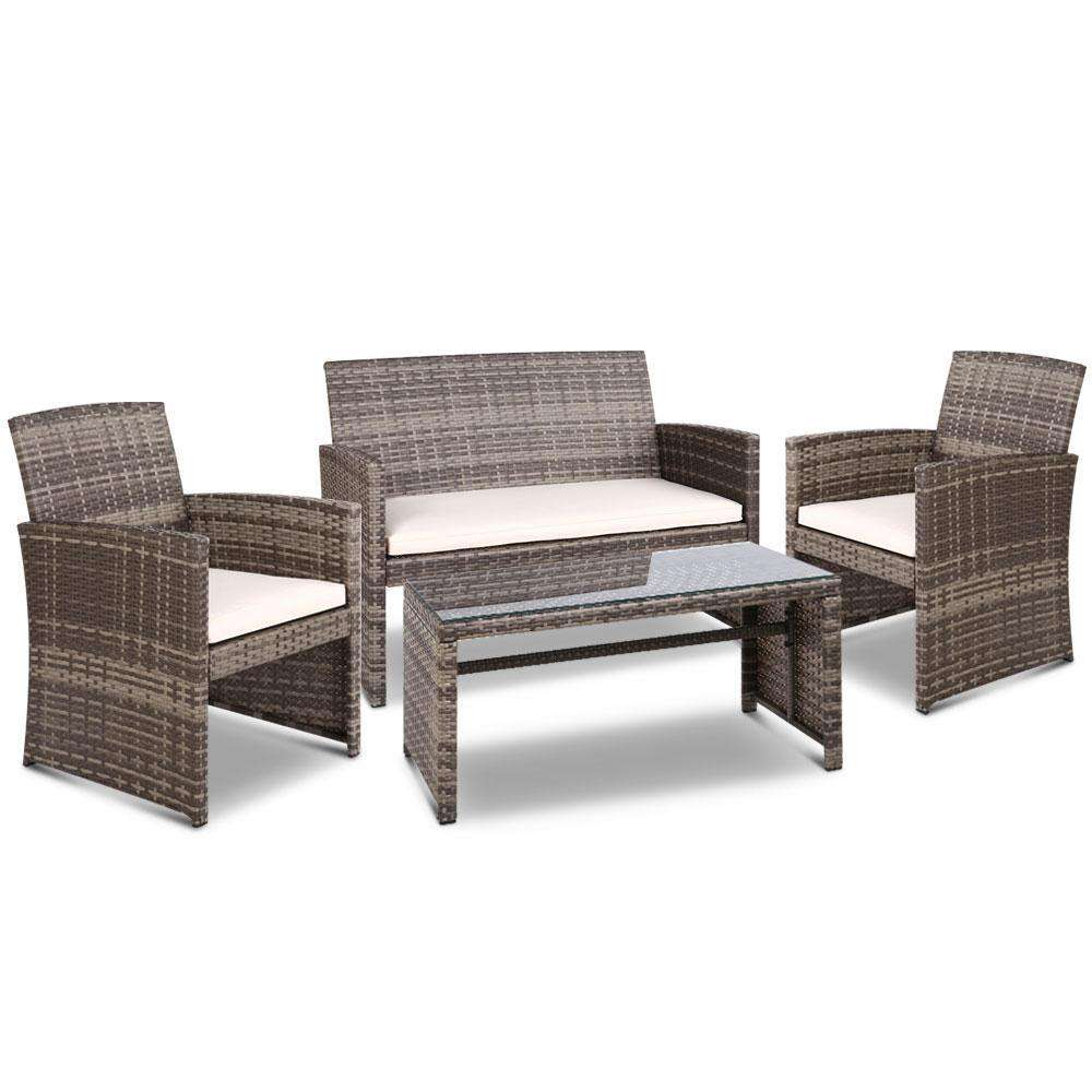 Gardeon Set of 4 Outdoot Rattan Chairs & Table - Grey
