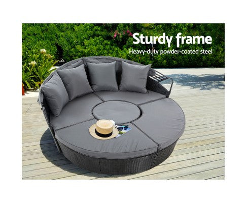 Outdoor Lounge Setting Sofa Wicker Rattan Black