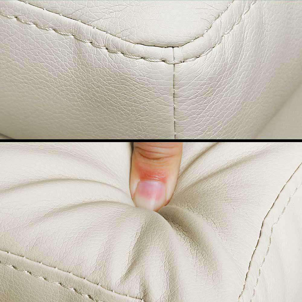 Large Ottoman PU Leather Chest Storage Box Foot Stool Cream - Desirable Home Living