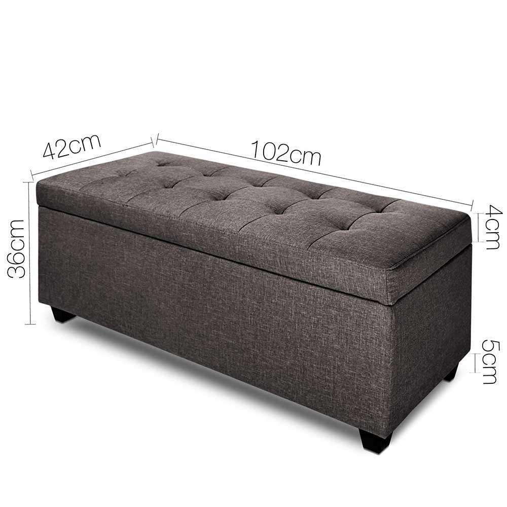 Faux Linen Ottoman Storage Foot Stool Large Brown - Desirable Home Living