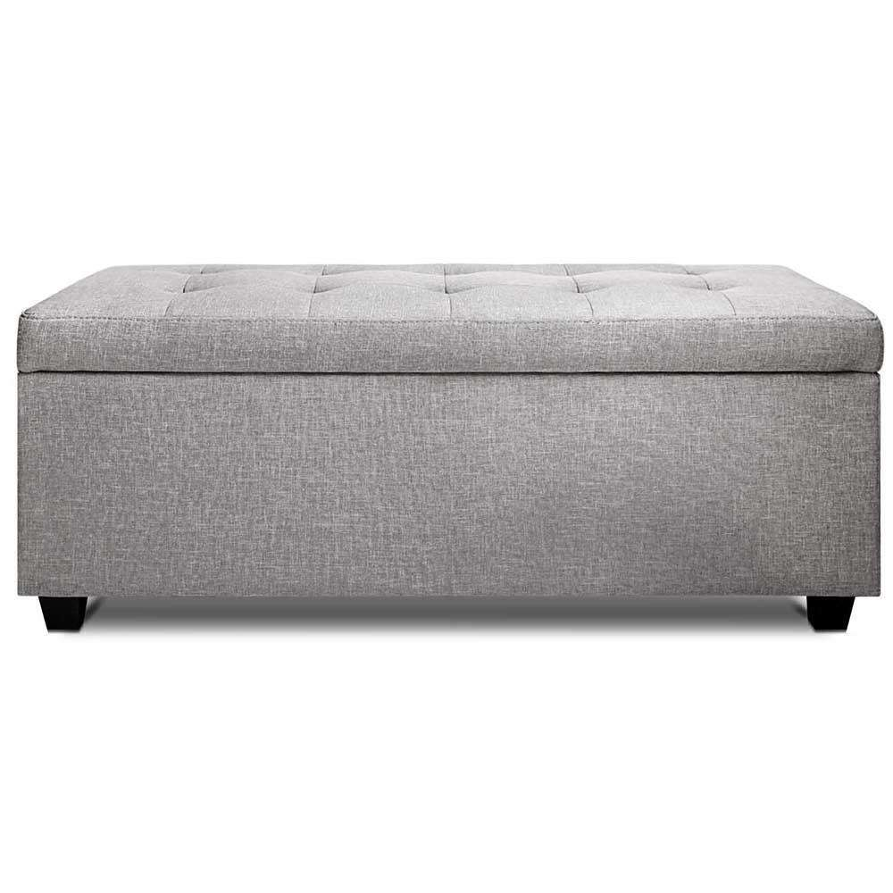 Faux Linen Ottoman Storage Foot Stool Large Light Grey - Desirable Home Living