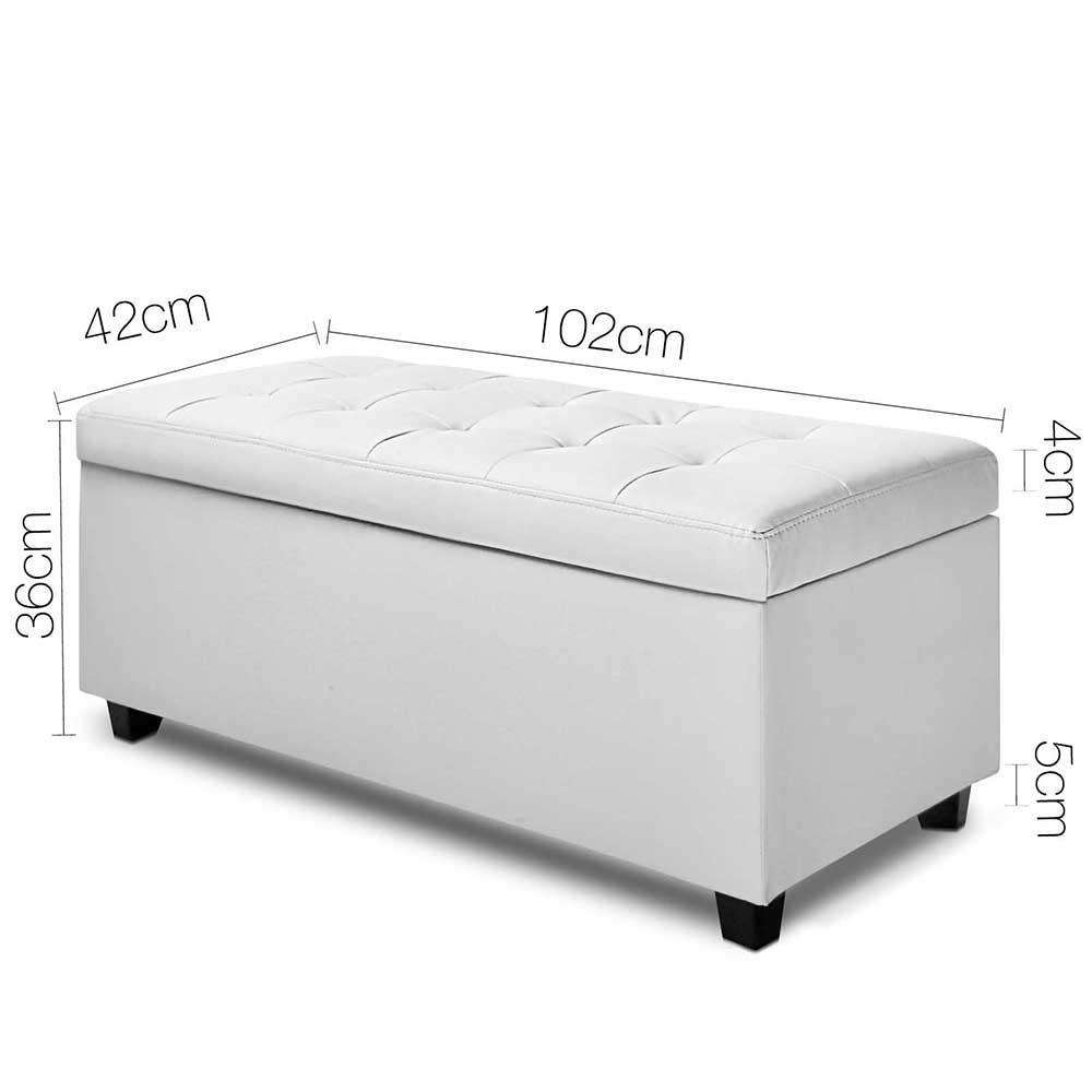 Large Ottoman PU Leather Chest Storage Box Foot Stool White - Desirable Home Living