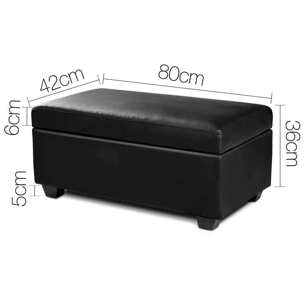 Faux Leather Storage Ottoman Large Black