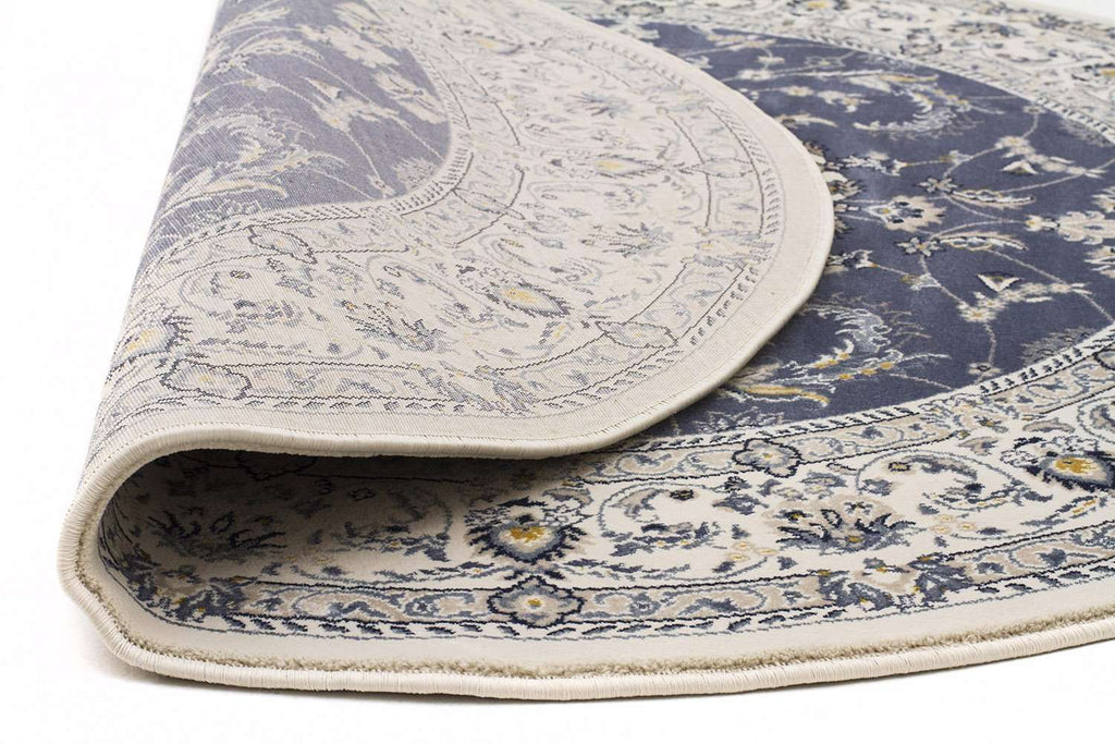 Palace Manal Oriental Round Rug Blue White