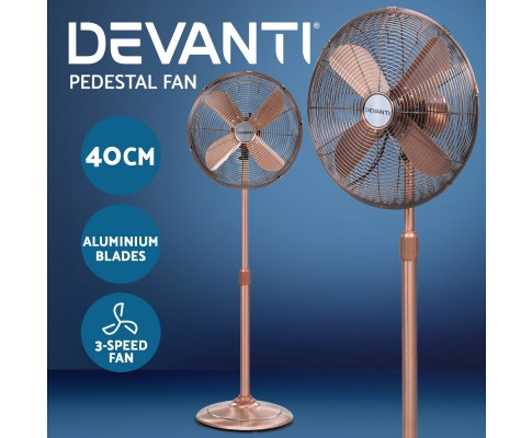 Devanti Metal Pedestal Fan Vintage Chrome 3 Speed Copper