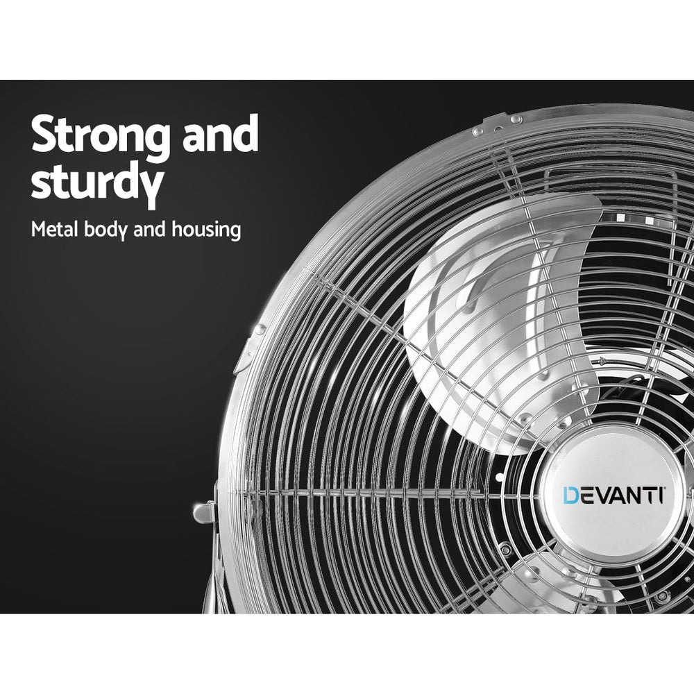 Devanti Metal Floor Fan Desk Fans Chrome Portable 3 Speed Tilt Silver