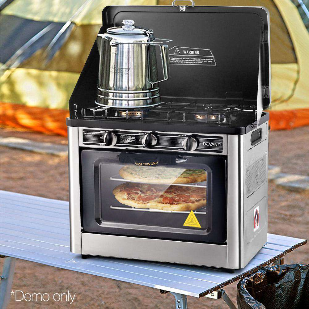 Portable Gas Oven and Stove Silver and Black - Desirable Home Living